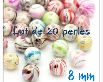 Set of 20 beads 8 mm acrylic bright multicolored