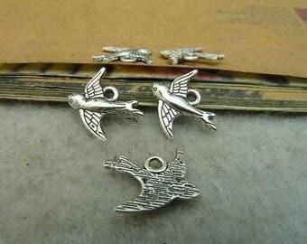 5 pcs Silver alloy bird Charms 16x15mm