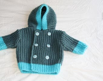 hand knitted baby hooded coat
