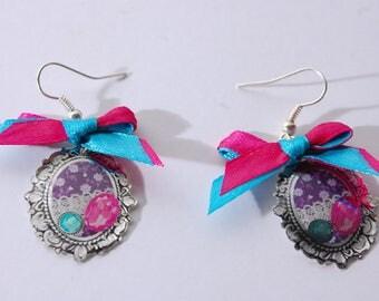 Purple pendant, gemstone earrings