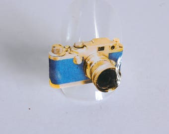 Camera, retro, blue and gold ring