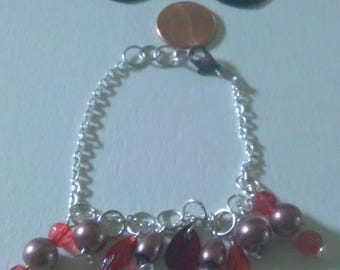 Red and brown earring and bracelet set
