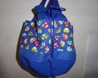 Toy bag large pockets pattern cars