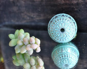Pale green and silver large ball bead diameter