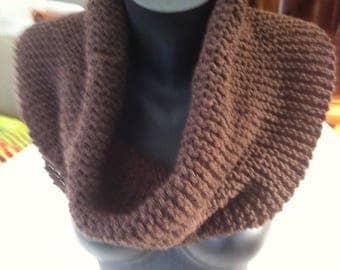 Snood handknitting unisex Brown