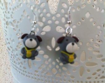 Grey bear small Stud Earrings