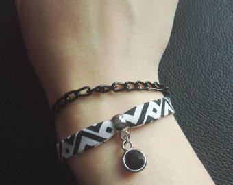 Bracelet liberty black and White Ribbon