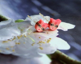 Cat Stud Earrings pink jewelry