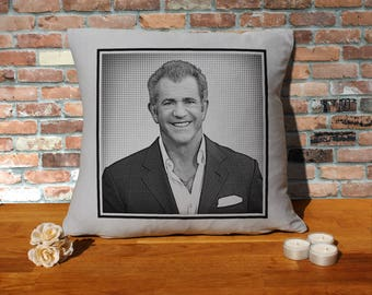 Mel Gibson Pillow Cushion - 16x16in - Grey