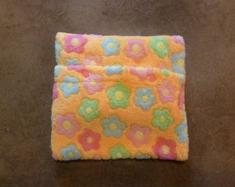 Heating pad removable orange fleece printed with flowers (baby)