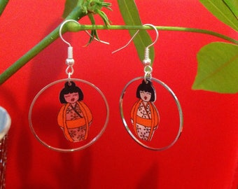 Kokeshis shrink plastic earrings.