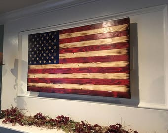 Wooden handcrafted American Flag (Medium)