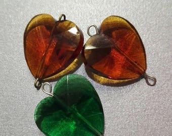 "x 3 ""Big heart"" glass bead connector"