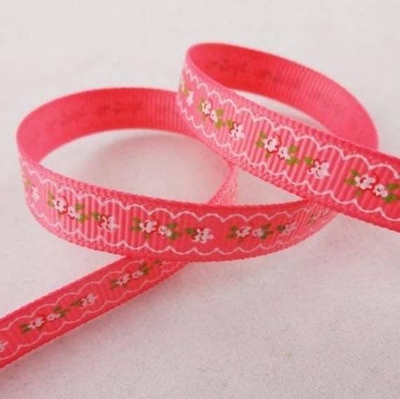 -Ribbon grosgrain pink floral frieze flower - 10 mm - 1 M