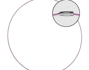 Choker cable clasp screw 45 cm - Fuchsia