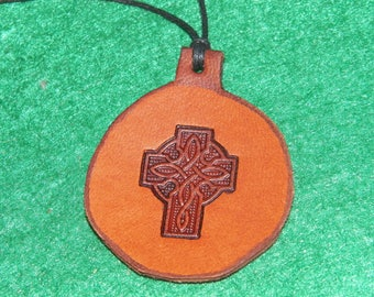 Leather with a Celtic cross design pendant