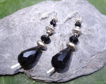 Earrings drops worked beads interspersed with black