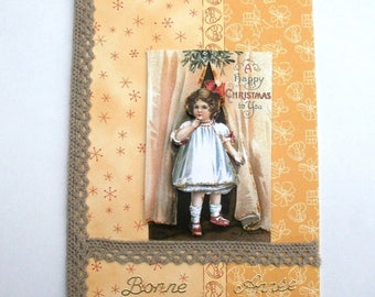 card 3d little girl vintage happy new year - 109.