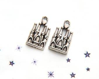 silver metal fairy tale Castle charm