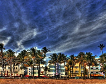 South Beach Art Deco and Palm Trees plus an Aesthetic Cloud Formation Miami Beach Fine Art Photography
