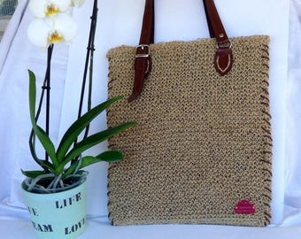 Large flat bag, natural jute bag, leather handles, handmade knitted
