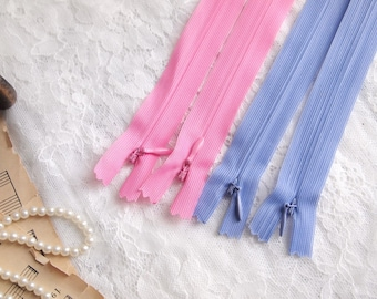"""5 pieces Invisible Zippers// 34cm (13.3"""")// Pink, Purple"""