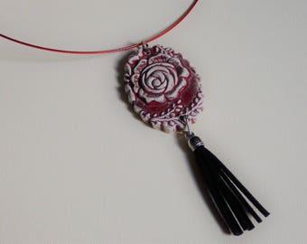 tassel and flower Locket necklace pendant