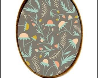 Dandelion flower glass cabochon Adjustable ring