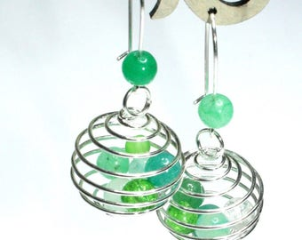 green shades cage earring