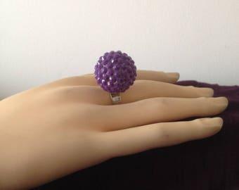 Ball purple adjustable rhinestone ring