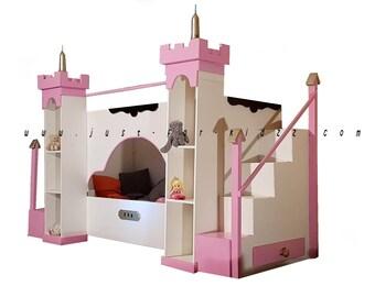 Guirlande en feutrine violette avec chateau de princesse - Lit chateau princesse ...