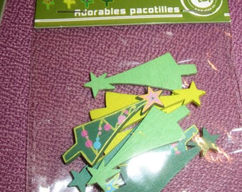 set of 8 Christmas tree wooden shapes