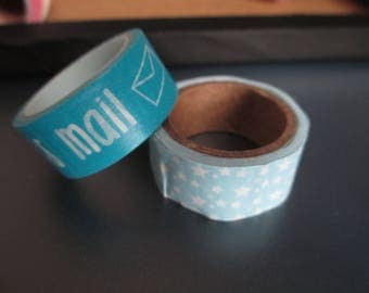 set of 2 rolls of masking tape star blue enamel