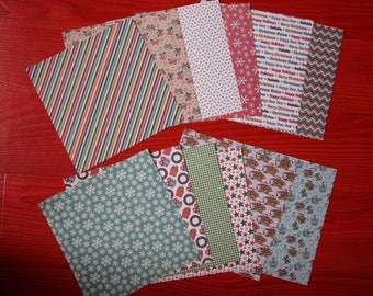 set of 12 sheets 15 x 15 cm various Christmas patterns