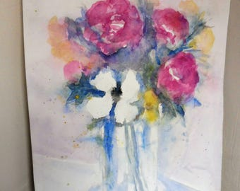watercolor original bouquet of pink and white decorative flower wall mother's day gift idea