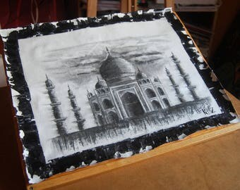 Drawing of the Taj Mahal in charcoal on canvas