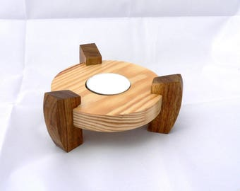 Round wooden footed candle holder. table centerpiece