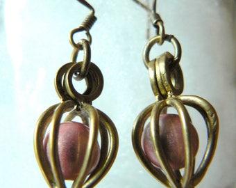 metal birdcage earrings pale pink magic Pearl bronze