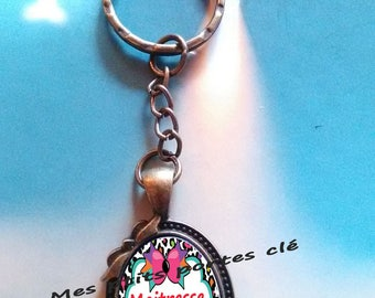 Key ring with cabochon glass 25 x 18 mm centerpiece