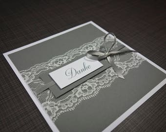 Thank you card with Ribbon lace