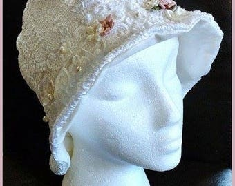 Gwendolyn ~ Handcrafted from recycled clothing, Cloche, Flapper Style, Chemo Hats