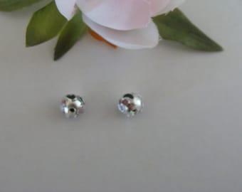 Set of 2 cloisonne beads color silver 8 mm diameter