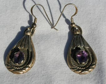 Vintage Pair Navajo Sterling Silver Earrings with Purple Stone Signed 'M'