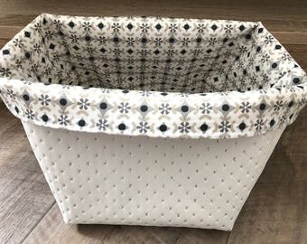 White with glitter and cotton storage basket