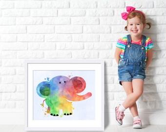 art for kids room, elephant, watercolor, childs room, nursery decor, baby room, room decor, Instant Download, Printable, Kids, art for kids