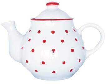 Large Ceramic Teapot  White and red  Polka Dots  1,7liter / 60 oz  Hand Painted