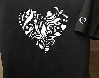 Silver Sparkle Heart t shirt