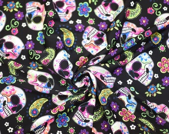 Sugar Skulls Neon - Spandex Fabric - Nylon Lycra - 4 Way Stretch - Swimwear Fabric - Activewear - Swimwear - Costume - BTY (Sugar Skulls)