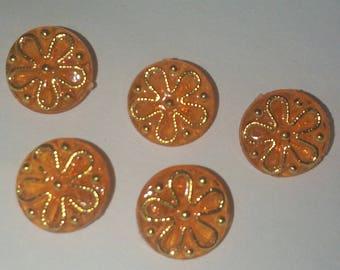 set of 5 button jewelry, orange Golden Flower