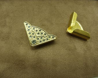 triangle gold plated with silver rhinestones